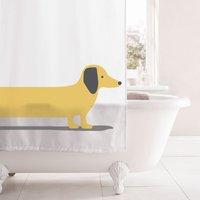 image-Sausage Dog Shower Curtain Ochre