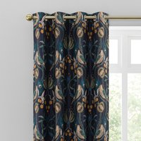 Havisham Navy Eyelet Curtains Navy Blue, Green and Brown