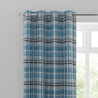 Bonnie Check Blue Eyelet Curtains Blue, Grey and White