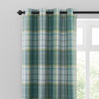 Astley Check Green Eyelet Curtains Green, Yellow and White