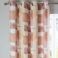 Diaz Pink Eyelet Curtains Pink, Beige and White