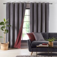 Reversible Merlot and Charcoal Velour Eyelet Curtains Red and Charcoal
