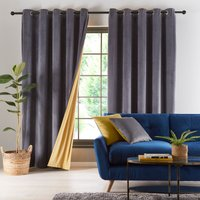 Reversible Gold and Charcoal Grey Velour Eyelet Curtains Charcoal and Gold