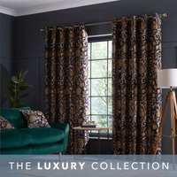 Betsy Black Eyelet Curtains Black, Brown and Yellow