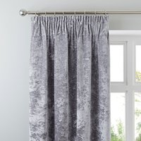 Crushed Velour Silver Pencil Pleat Curtains Silver