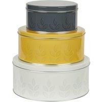 Dunelm Set of 3 Leaf Print Cake Tins Grey, Yellow and White