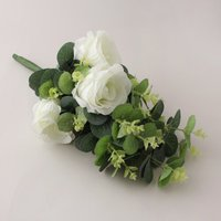 image-Artificial Rose and Eucalyptus White Bundle 38cm White