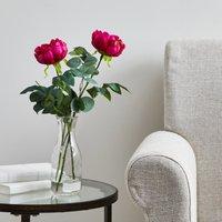 image-Artificial Peony and Eucalyptus Multi in Glass Vase 48cm MultiColoured