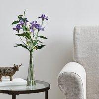 image-Artificial Iris Purple in Glass Vase 36cm Purple