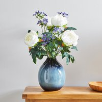 image-Artificial Iris and Peony Multi in Blue Vase 52cm MultiColoured