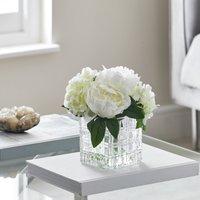 image-Artificial Hydrangea White in Glass Cube Vase 23cm White