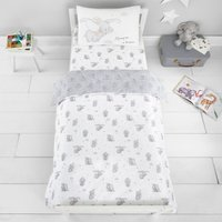 Dumbo 100% Cotton Cot Bed Duvet and Pillowcase Set Grey, Black and White