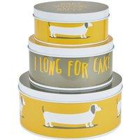 Dunelm Bertie Cake Tins Yellow, Grey and White