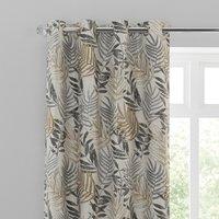 Leaf Jacquard Grey Eyelet Curtains Grey