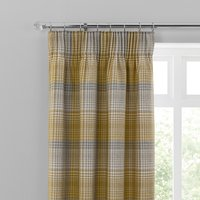 Logan Ochre Check Pencil Pleat Curtains Yellow, Grey and White