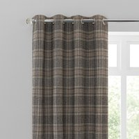 Yorkshire Check Biscuit Eyelet Curtains Brown, Grey and White