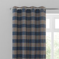 Yorkshire Check Blue Eyelet Curtains Blue, Brown and White