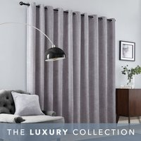Aubrey Grey Chenille Eyelet Curtains Grey