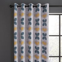 Linear Retro Floral Teal Eyelet Curtains Blue, Yellow and White
