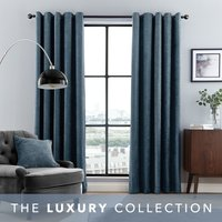 Aubrey Navy Chenille Eyelet Curtains Navy Blue