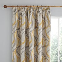 Mirage Ochre Pencil Pleat Curtains Yellow and Grey
