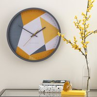 image-Pastel Geo Wall Clock Grey and Ochre 36cm Grey