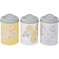 Ashbourne Printed Set of 3 Canisters Grey, Yellow and White