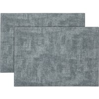 Pack of 2 Faux Leather Placemat Grey