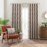 Marrakech Blue Eyelet Curtains Blue, Green and Brown