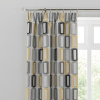 Dahl Ochre Pencil Pleat Curtains Grey, Black and Yellow