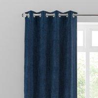 Margot Velvet-Look Midnight Blue Eyelet Curtains Blue, Grey and White