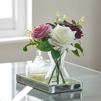 image-Artificial Roses Multi in Glass Vase MultiColoured