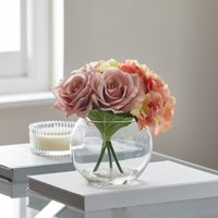 image-Artificial Flower Arrangement Multi in Fishbowl Vase MultiColoured