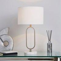 image-Carrara Marble Base Loop Table Lamp Chrome