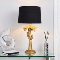 image-Odisha Monkey on Palm Tree Table Lamp Antique Brass