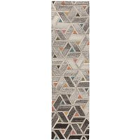 River Geometric Runner Grey, Pink and Yellow