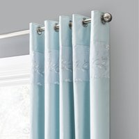 Elene Blue Floral Sequin Blackout Eyelet Curtains Blue and White