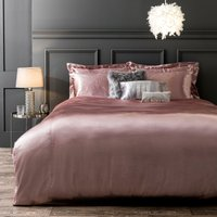 Eva Pink Satin Duvet Cover and Pillowcase Set Pink