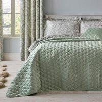Evesham Green Quilted Velvet Bedspread Green