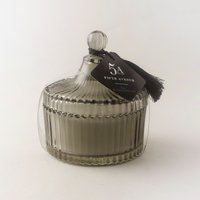 image-5A Ribbed Lidded Iris and Sandalwood Scented Candle Smoke (Grey)
