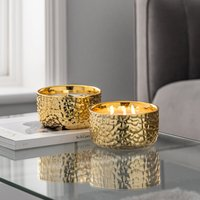 image-Hammered Metal Gold Amber and Mandarin Multiwick Scented Candle Gold