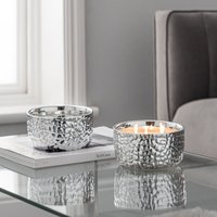 image-Hammered Metal Silver White Oud and Magnolia Multiwick Scented Candle Silver