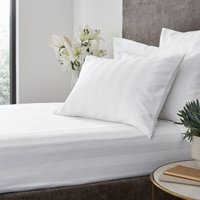 Hotel Egyptian Cotton 230 Thread Count Stripe Fitted Sheet White