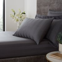 Hotel Egyptian Cotton 230 Thread Count Stripe Fitted Sheet Charcoal