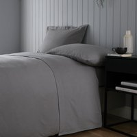 Soft and Cosy Brushed Cotton White Flat Sheet Grey