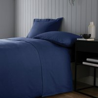 Soft and Cosy Brushed Cotton White Flat Sheet Navy Blue