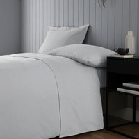 Soft and Cosy Brushed Cotton White Flat Sheet Silver