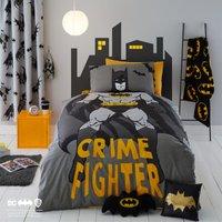 Batman Single Reversible Duvet Cover and Pillowcase Set Light Grey