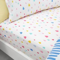 Elements Rainbow Geometric 100% Cotton Fitted Sheet Pink, Blue and Yellow