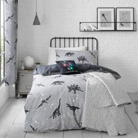 Black Space Dinosaur Single Duvet Cover and Pillowcase Set Black and White